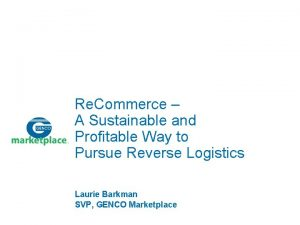 Re Commerce A Sustainable and Profitable Way to