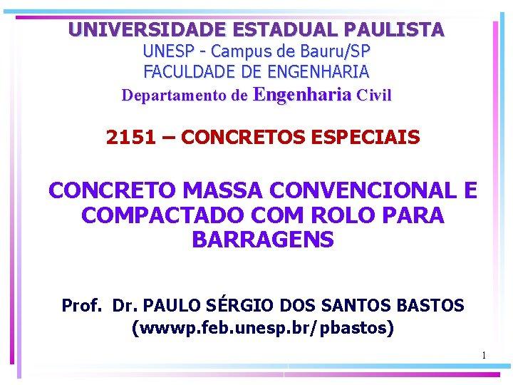 UNIVERSIDADE ESTADUAL PAULISTA UNESP Campus de BauruSP FACULDADE