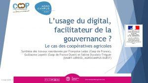 Lusage du digital facilitateur de la gouvernance Le