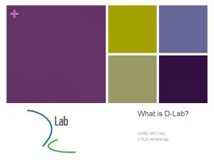 What is DLab Justin Mc Crary CSLS Workshop