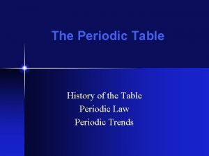 The Periodic Table History of the Table Periodic