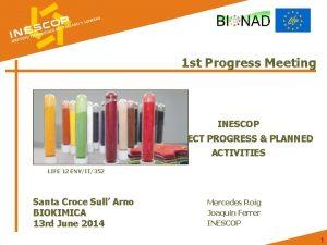 1 st Progress Meeting INESCOP PROJECT PROGRESS PLANNED
