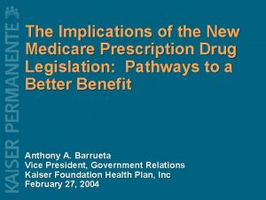 The Implications of the New Medicare Prescription Drug
