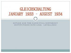 GLEICHSCHALTUNG JANUARY 1933 AUGUST 1934 HITLER AND THE