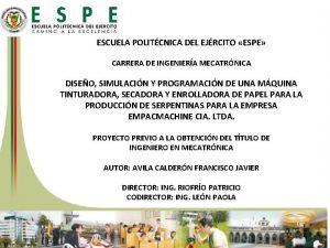 ESCUELA POLITCNICA DEL EJRCITO ESPE CARRERA DE INGENIERA