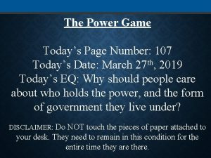 The Power Game Todays Page Number 107 Todays