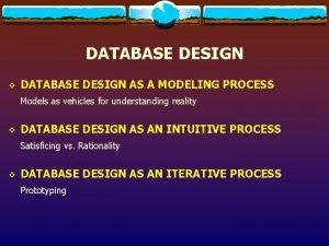 DATABASE DESIGN v DATABASE DESIGN AS A MODELING