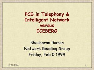 PCS in Telephony Intelligent Network versus ICEBERG Bhaskaran