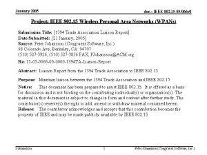 January 2005 doc IEEE 802 15 05066 r