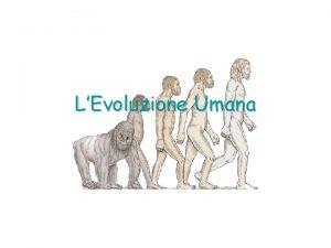LEvoluzione Umana Introduzione La comprensione dellevoluzione della specie