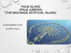 PALM ISLAND PALM JUMEIRA THE MAN MADE ARTIFICIAL