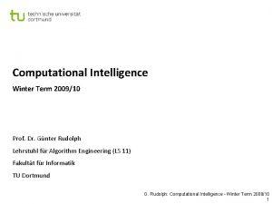 Computational Intelligence Winter Term 200910 Prof Dr Gnter