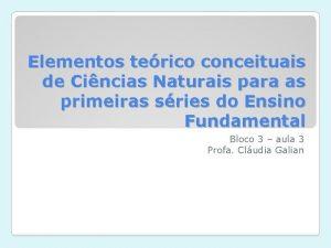 Elementos terico conceituais de Cincias Naturais para as