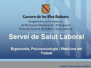 Servei de Salut Laboral Ergonomia Psicosociologia i Medicina