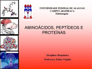 UNIVERSIDADE FEDERAL DE ALAGOAS CAMPUS ARAPIRACA Enfermagem AMINOCIDOS