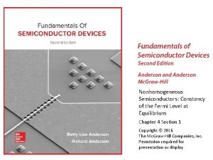 Nonhomogeneous Semiconductors Constancy of the Fermi Level at