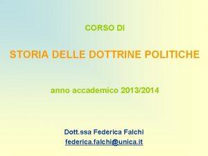 CORSO DI STORIA DELLE DOTTRINE POLITICHE anno accademico