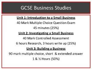 GCSE Business Studies Unit 1 Introduction to a