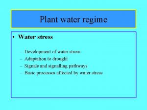 Plant water regime Water stress Development of water