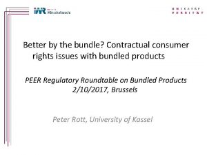 Better by the bundle Contractual consumer rights issues