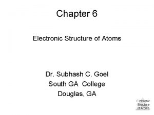 Chapter 6 Electronic Structure of Atoms Dr Subhash
