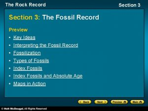 The Rock Record Section 3 The Fossil Record