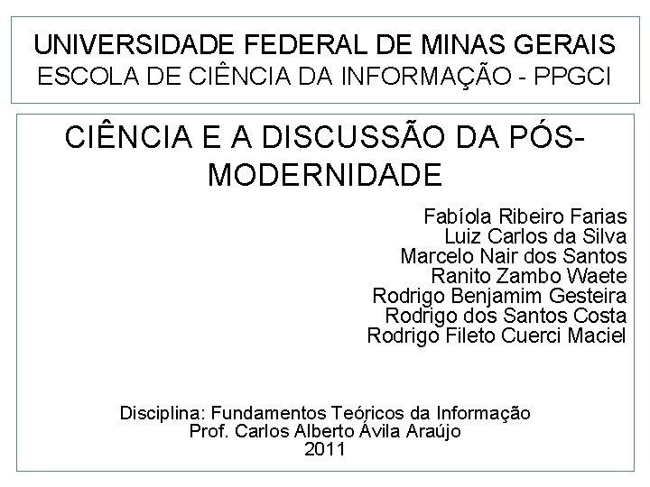 UNIVERSIDADE FEDERAL DE MINAS GERAIS ESCOLA DE CINCIA