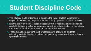 Student Discipline Code The Student Code of Conduct