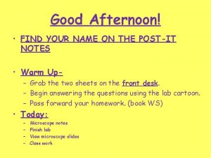 Good Afternoon FIND YOUR NAME ON THE POSTIT