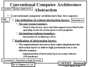 Conventional Computer Architecture Abstraction Conventional Sequential or Single