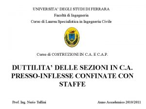 UNIVERSITA DEGLI STUDI DI FERRARA Facolt di Ingegneria