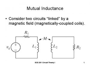 Mutual Inductance Consider two circuits linked by a