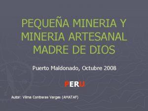 PEQUEA MINERIA Y MINERIA ARTESANAL MADRE DE DIOS