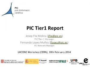 PIC port dinformaci cientfica PIC Tier 1 Report