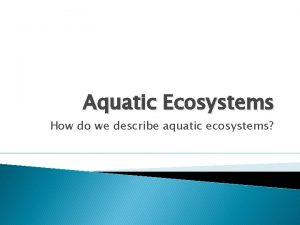 Aquatic Ecosystems How do we describe aquatic ecosystems