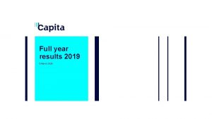 Full year results 2019 5 March 2020 Disclaimer