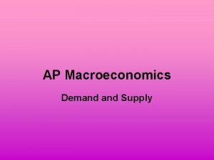AP Macroeconomics Demand Supply Price and Quantity Price