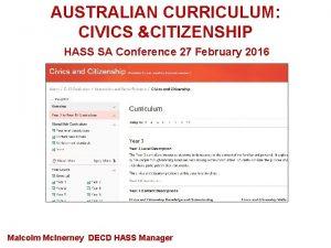 AUSTRALIAN CURRICULUM CIVICS CITIZENSHIP HASS SA Conference 27