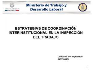 ESTRATEGIAS DE COORDINACIN INTERINSTITUCIONAL EN LA INSPECCIN DEL