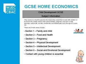 GCSE HOME ECONOMICS Child Development GCSE Subject Information