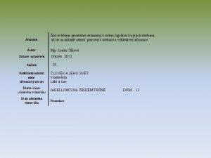 Anotace Autor Datum vytvoen Ronk Vzdlvac oblast obor