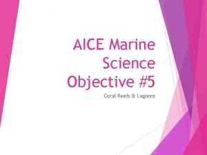 AICE Marine Science Objective 5 Coral Reefs Lagoons