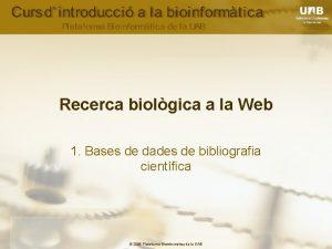 Recerca biolgica a la Web 1 Bases de