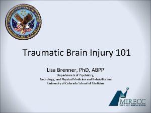 Traumatic Brain Injury 101 Lisa Brenner Ph D