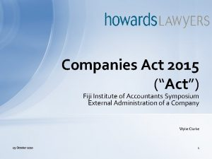 Companies Act 2015 Act Fiji Institute of Accountants