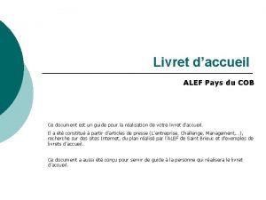 Livret daccueil ALEF Pays du COB Ce document