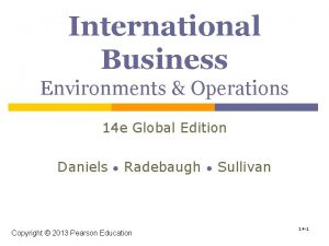 International Business Environments Operations 14 e Global Edition