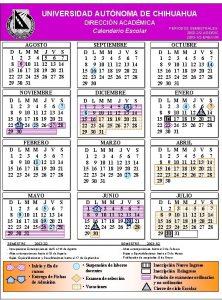 UNIVERSIDAD AUTNOMA DE CHIHUAHUA DIRECCIN ACADMICA Calendario Escolar