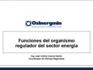 Funciones del organismo regulador del sector energa Ing