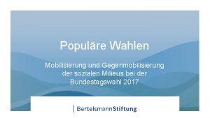 Populre Wahlen Mobilisierung und Gegenmobilisierung der sozialen Milieus